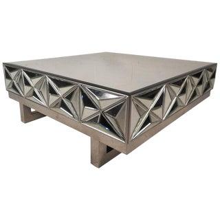 Milo Baughman Style Mid-Century Square Mirror Coffee Table