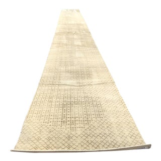 Beige Persian Wool Runner - 3′ × 30′
