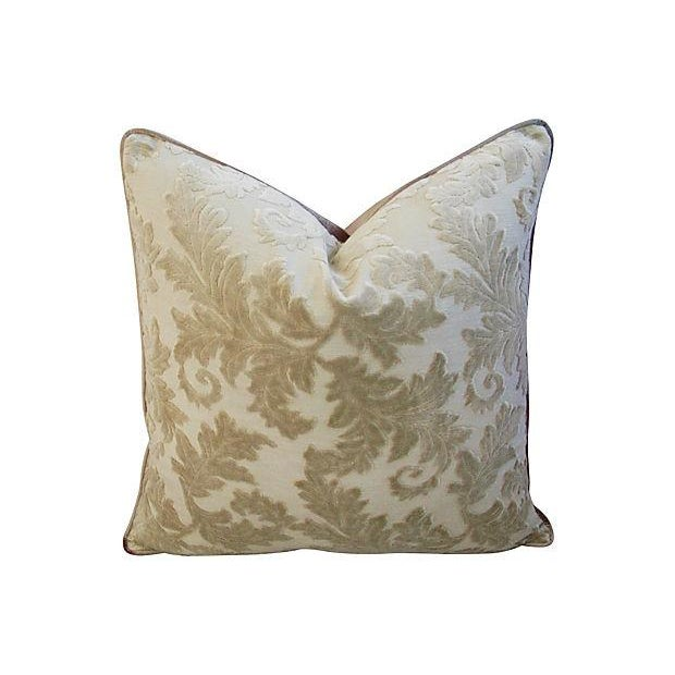 Image of Gray French Cut/Uncut Velvet Pillows - A Pair