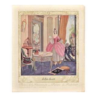 Art Deco Fashion-Interior Deco lithograph-French Louis XV