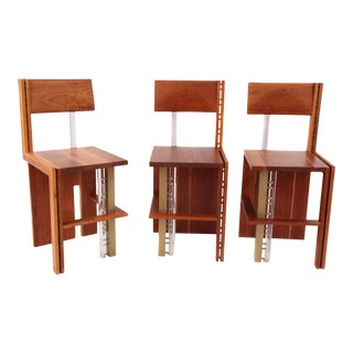 Three Cherry Bronze and Lucite Barstools