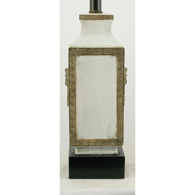 Neoclassical Crackle Glaze & Parcel Gilt Greek Key Table Lamp - Image 4 of 7