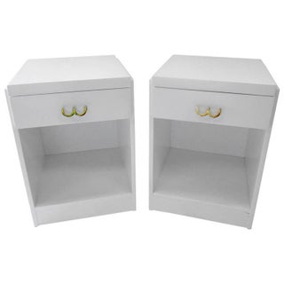 Mid-Century Lacquered White Nightstands - Pair