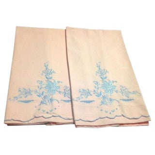 Vintage Pink & Blue Embroidery Pillowcases - Pair