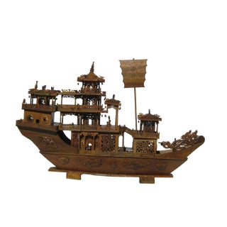 Chinese Rosewood Junk Sailing Vessel Model Art