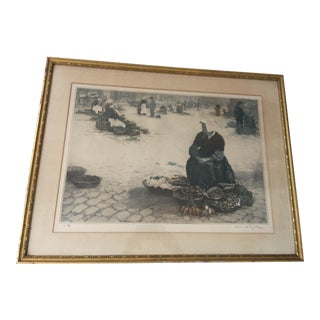 Manuel Robbe Brittany Market Place Etching