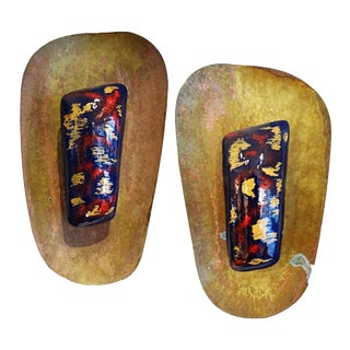 Pair of Mid-Century Lacquer and Brass Sconces in the Style of Paolo di Poli