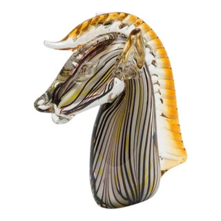 Murano Hand-Blown Horse Glass Figure Head