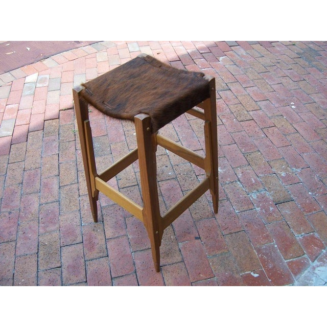 Pair of Architectural Frame Cowhide and Wood Barstools - Image 2 of 5