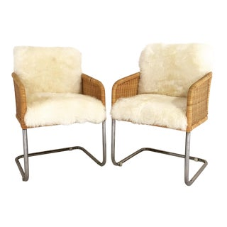 Woven Sheepskin Cushion Chairs - Pair