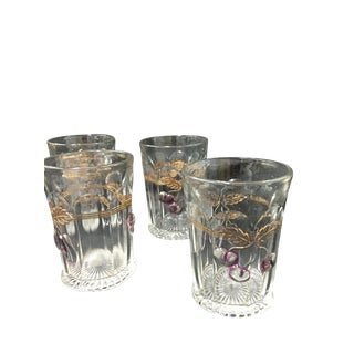 """Northwood """"Plums and Cherries"""" Tumblers - Set of 4"""