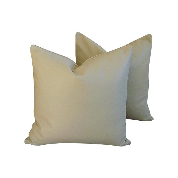 Genuine Italian Sandy Putty Leather Pillows - Pair - Image 1 of 5