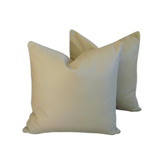 Genuine Italian Sandy Putty Leather Pillows - Pair