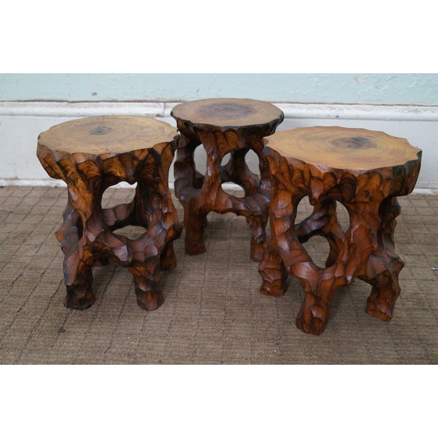 mid century small tree stump carved end tables chairish. Black Bedroom Furniture Sets. Home Design Ideas