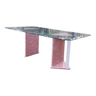 Portuguese Marble and Glass Dining Table