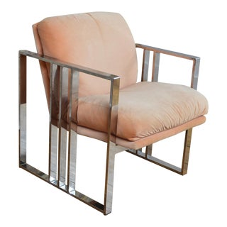 Milo Baughman for Thayer Coggin Glam Chrome and Velvet Club Chair