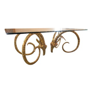 Hollywood Regency Chervet Style Brass Rams Head Ibex Dining Table