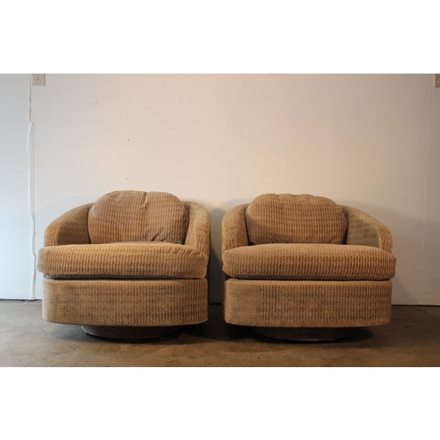 Milo Baughman for Thayer Coggin Swivel Lounge Chairs- A Pair - Image 4 of 11