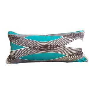 Mid-Century Modern Waves Lumbar Throw Pillow