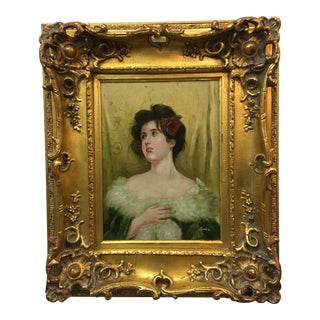 Elaborate Framed Oil Painting Signed Jackie