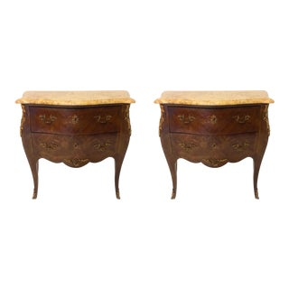 1940s French Inlaid Marble Top Chests - A Pair