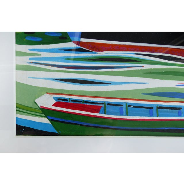 Mid-Century Modern Nautical Gouache Painting - Image 8 of 9