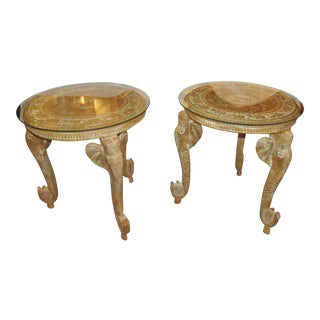 Chapman Mfg Glass Topped Ornate Carved Elephant Tables - a Pair