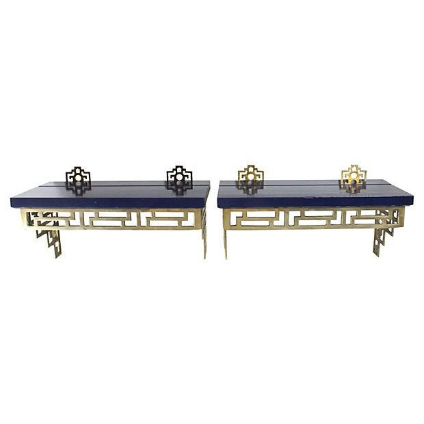 Chinoiserie Brass Wall Shelves - A Pair - Image 2 of 6
