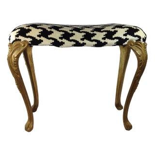 Victorian Brass Houndstooth Vanity Bench