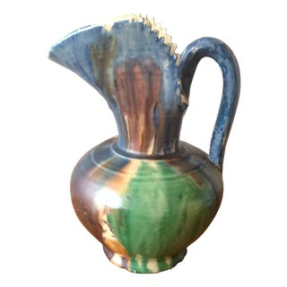 Vintage 1940s Dripware Mexican Pottery Pitcher