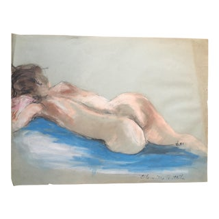 Signed Nude Pastel on Paper Drawing