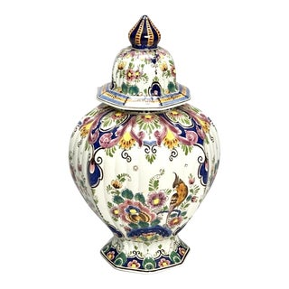 Vintage Dutch Delft Hand-Painted Polychrome Floral Porcelain Lidded Vase