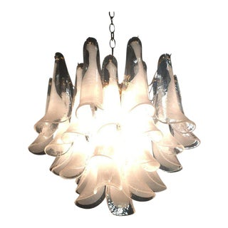 Four-Tier Murano Mazzega Glass Tulip Petal Chandelier