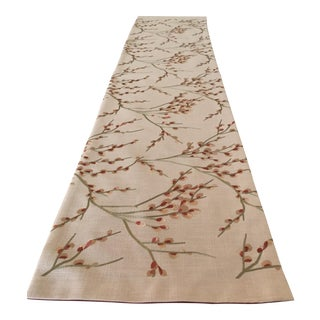 Gold & Green Embroidered Holiday Table Runner