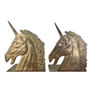 Vintage Brass Unicorn Bookends - a Pair
