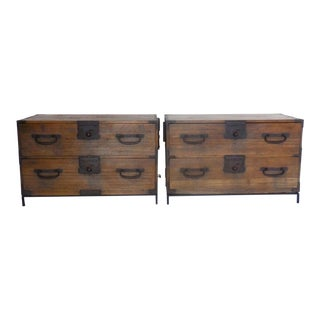 Pair of Japanese Tansu Nightstands and Side Tables on Hand Forged Iron Stands