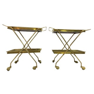 Italian Brass Bar Carts - A Pair