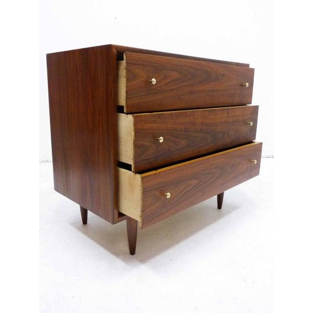 Image of Walnut Three-Drawer Bachelor Dresser Chest