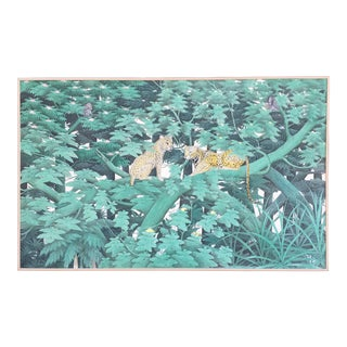 Balinese Painting of Leopards in a Green Jungle Scene