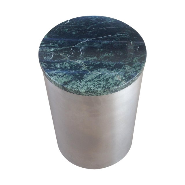 Image of Paul Mayen Cylindric and Green Marble End Table
