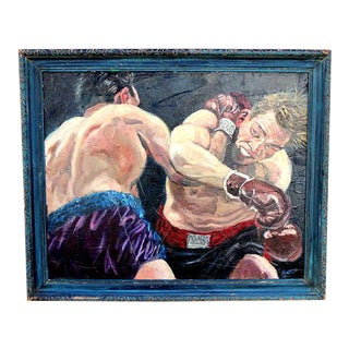 Vintage Impressionist Boxing Painting