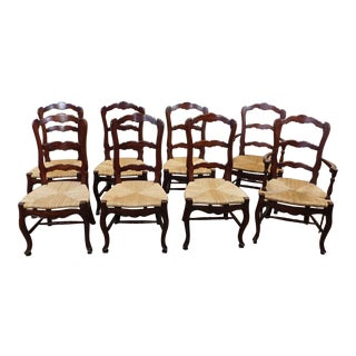 French Country Maple Dining Chairs - Set of 8