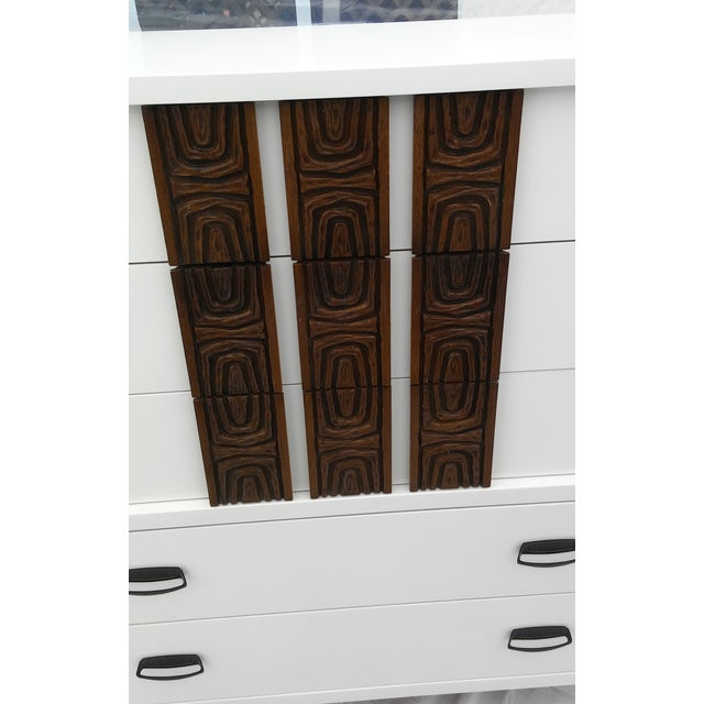 White Lacquered Mid-Century Modern Tall Dresser - Image 6 of 9