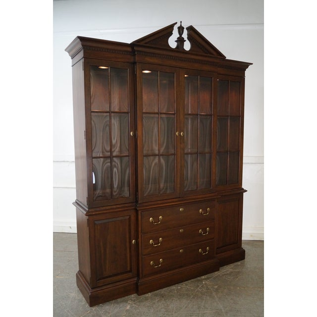 Ethan Allen Georgian Court Solid Cherry Chippendale Style Breakfront - Image 2 of 10