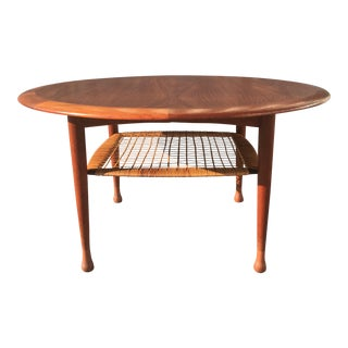 Vintage Johannes Andersen for Cfc Silkeborg Danish Mid-Century Teak & Cane Coffee Table
