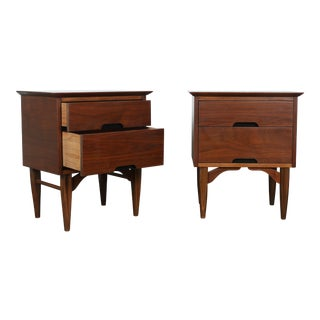 Mid-Century Walnut Nightstands - A Pair