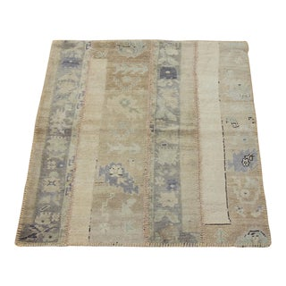 Turkish Vintage Overdyed Patchwork Oushak Rug - 3′7″ × 3′10″