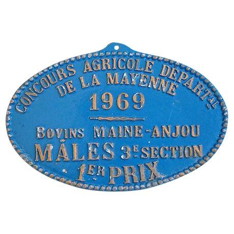 Image of Vintage 1969 Blue French 1st Prize Award Plaque