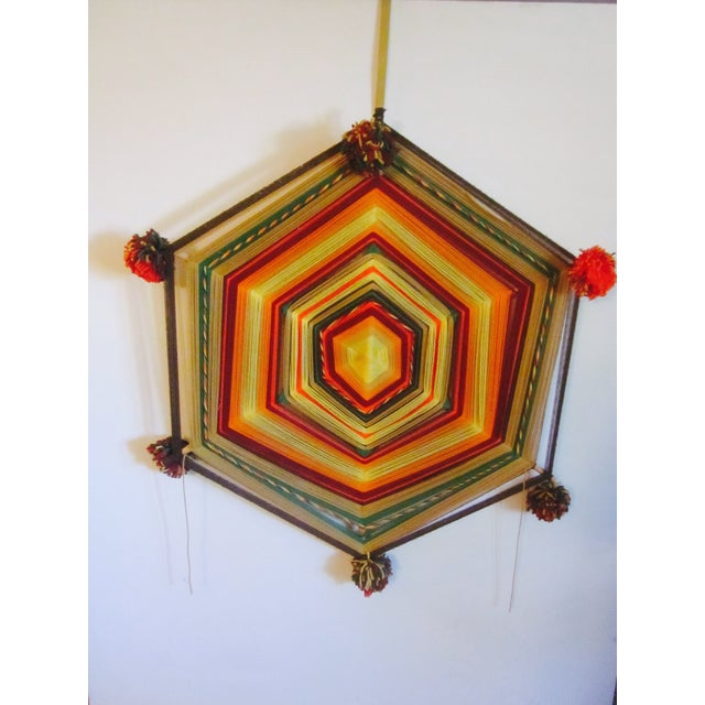 Boho Handwoven Mandala Wool Wall Hanging - Image 2 of 6