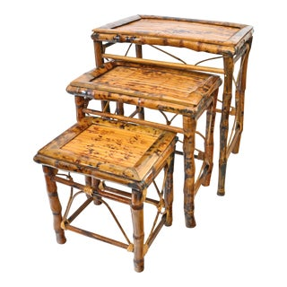 Vintage Bamboo Nesting Tables - Set of 3
